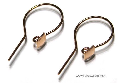 1 pair Rose Vermeil Ear Hooks app. 25x12mm