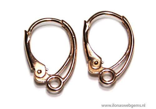 1 pair Rose Vermeil Ear Hooks app. 17x11mm