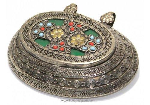 Afghaans Silber Anhänger gross maat ca. 90x67x22mm