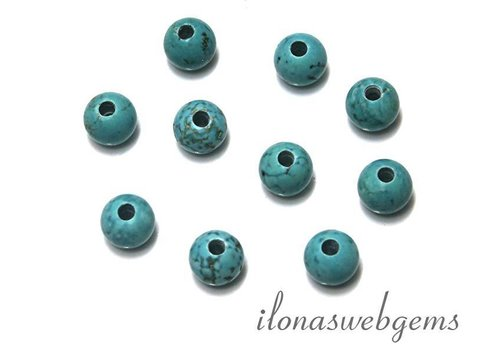 10 pieces Howlite beads round with large holes