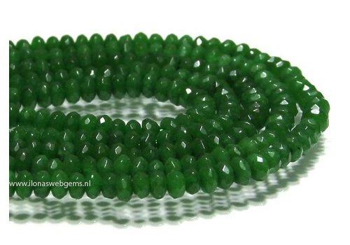 Jade beads 'Emerald ' facet roundel app. 5x3mm