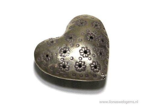 Sterling Silver  Hill tribe heart app. 33x30x14mm