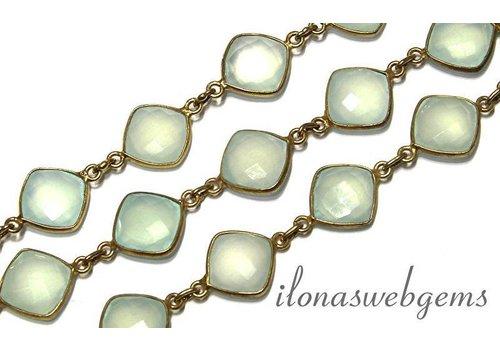 Chalcedoon Vermeil Pendant chain app. 12-13x4-5mm