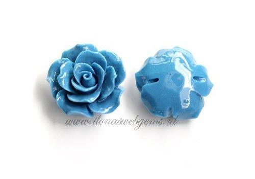 Koraal roosjes kraal blauw