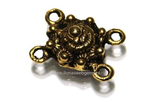 Tussenpiece Zeeuwse knop Gold Plated 2-rij