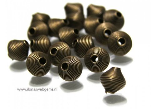 20 stuks oud brons spiraal