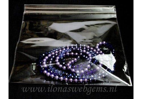 100 piecesPp zakjes glass bright with plakstrip 22x32cm