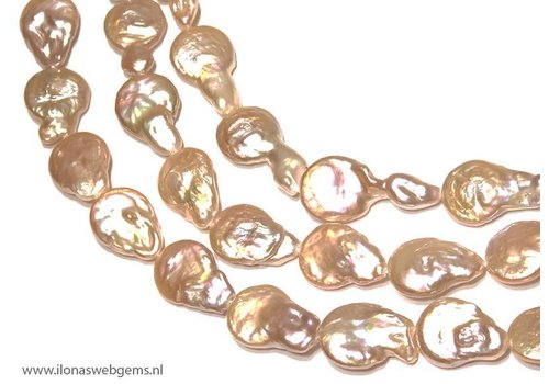 Coin pearl zalm lila with uitlopers app. 20-29x16mm