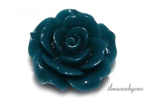 Koraal roosje turquoise ca. 20x9mm (kraal)