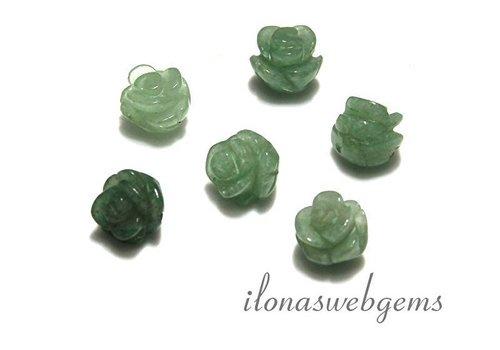 6 pieces gemstone rose Aventurien app. 10x9mm