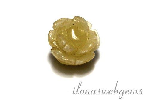1 edelsteen roosje Jade ca. 13.5x11mm