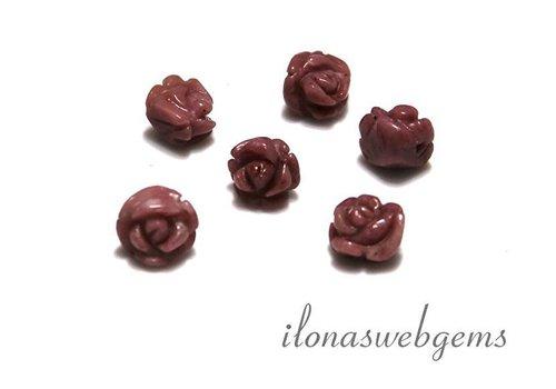 Edelsteen roosje Rhodoniet ca. 7x6mm