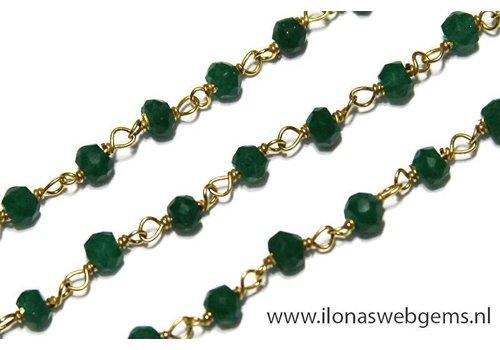10cm Vermeil Halskette mit Smaragd Perlen etwa 3,5 mm