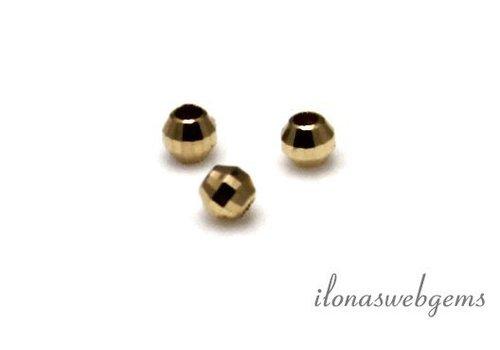 14 karaat gouden facet kraaltje ca. 2mm