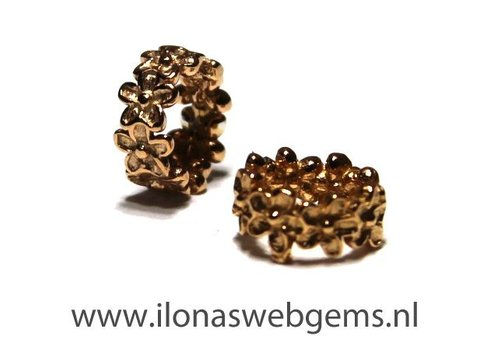 Rose vermeil spacer floweren app. 7x4mm