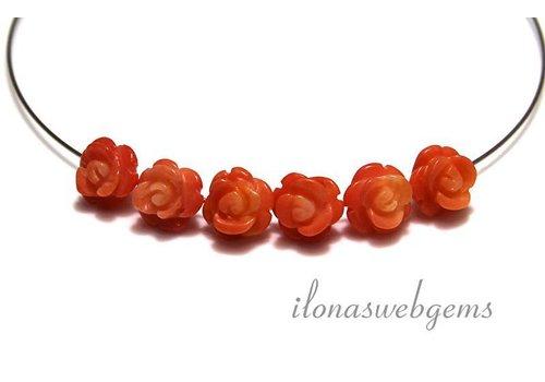 6 stuks edelsteen roosje Koraal