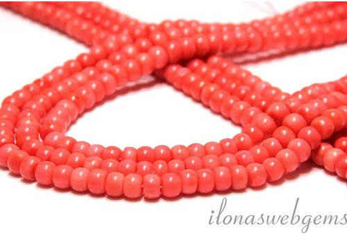 Coral roundelle beads app. 7x5mm