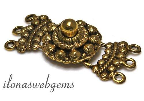 hookclasp 3-rij Zeeuwse knop Gold Plated
