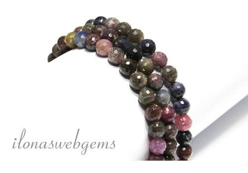 Ruby and Sapphire beads facet around 8mm