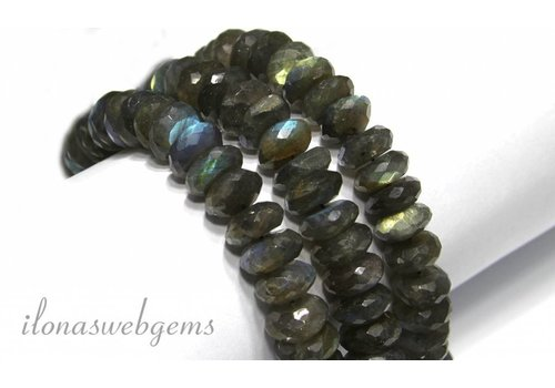 Labradorite beads facet roundel app. 11x5mm tot app. 16x7mm