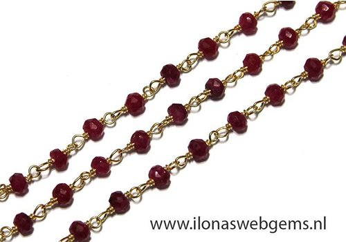 10cm Vermeil necklace with beads Ruby 3.5mm