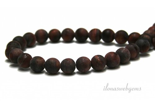 Tiger eye beads red mat around 6mm