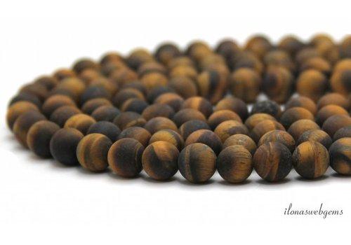 Tijgeroog kralen mat rond ca. 12mm