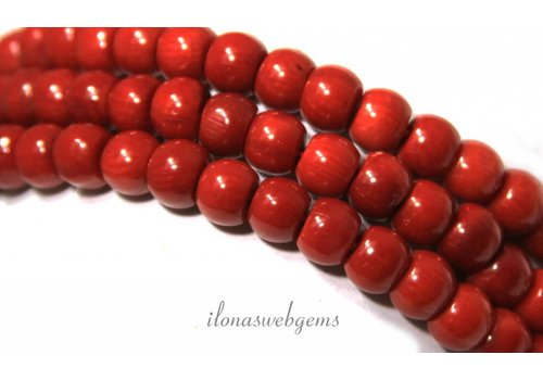 Red coral beads 'old Dutch' app. 8x6mm