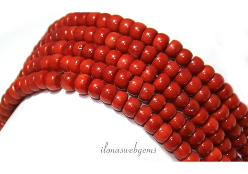 Blood coral beads 'old Dutch' approx. 6.2x4mm