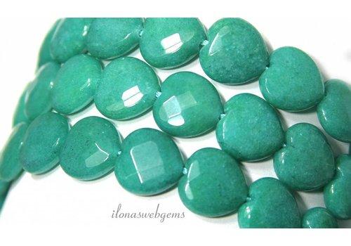 Jade kralen facet hart ca. 15x15x5.5mm