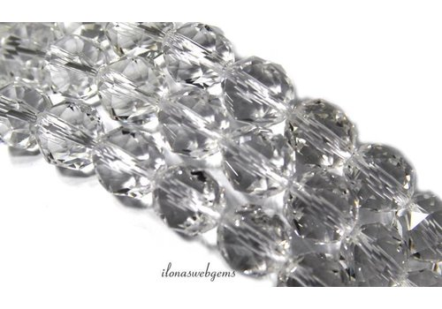 Rock crystal beads faceted around 10mm