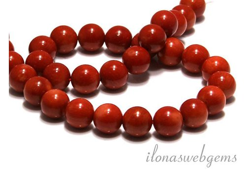 Coral beads red 'old Dutch' round approx 12mm