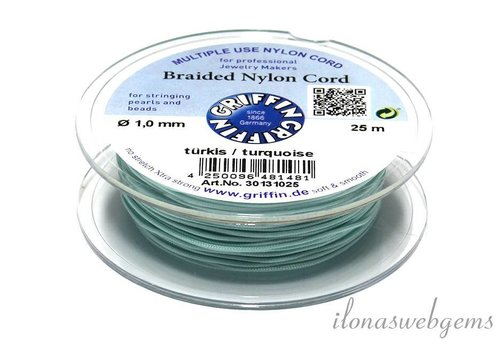 Griffin braided nylon cord turquoise