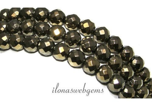 Hematite beads facet around gold approx. 8mm