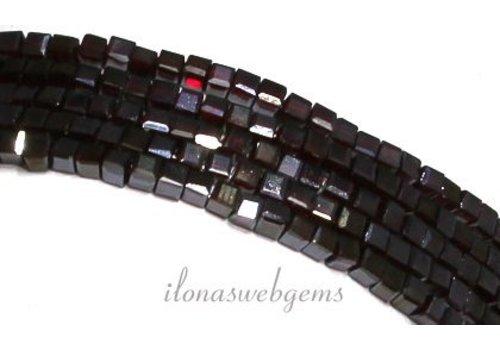 Kristal kralen Granaat rood (Swarovski style) kubusjes ca 3mm