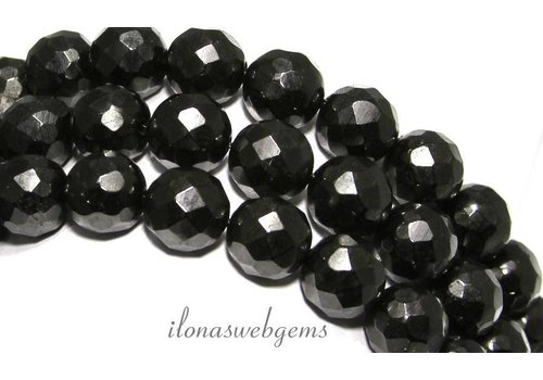 Black gitten beads facet around 12mm