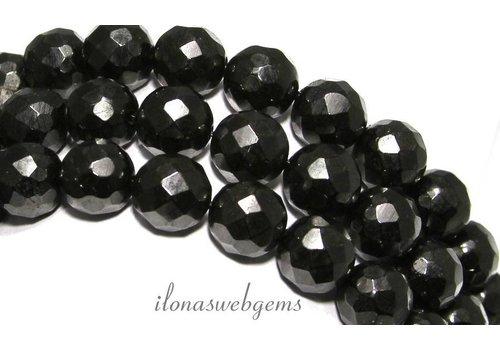 Zwarte gitten kralen facet rond ca. 12mm