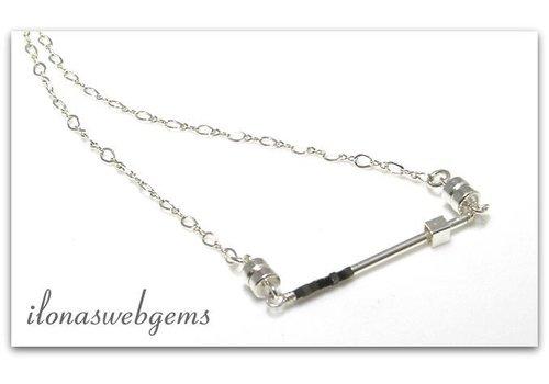 Inspiration necklace: Minimalist, sterling silver, hematite