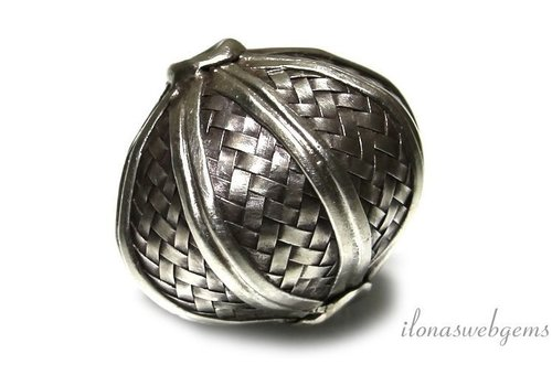 Sterling silver Hill tribe bead around 43x41mm