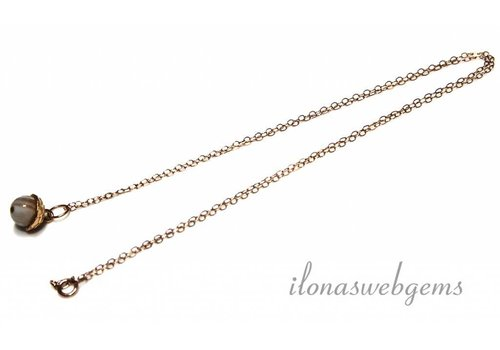 Inspiratie Rosé 14k/20 Gold filled ketting met Agaat kraal