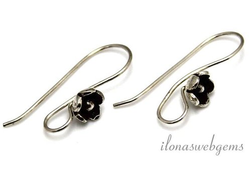 1 pair Sterling silver earring hooks with Hill tribe flower - Copy