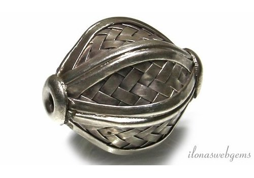 Hill tribe sterling silver bead ca.40x29mm