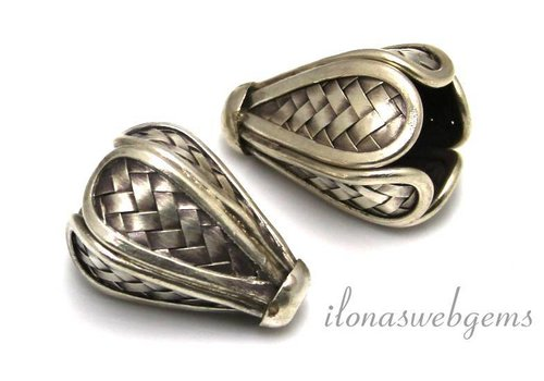 Hill tribe sterling silver bead approximately 31x20mm