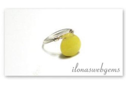 Inspiration sterling silver ring with jade drop