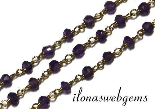 10 cm Vermeil Halskette mit Perlen Amethyst