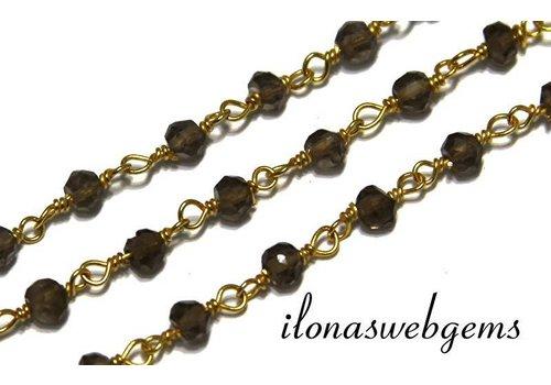 10 cm Vermeil Halskette mit Perlen Rauchquarz