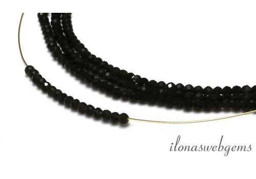 Donkere Rookkwarts (Morion) kralen facet rond ca. 3mm