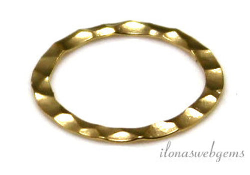14k/20 Gold filled gesloten oog/ring hammered ca. 13x0.3mm