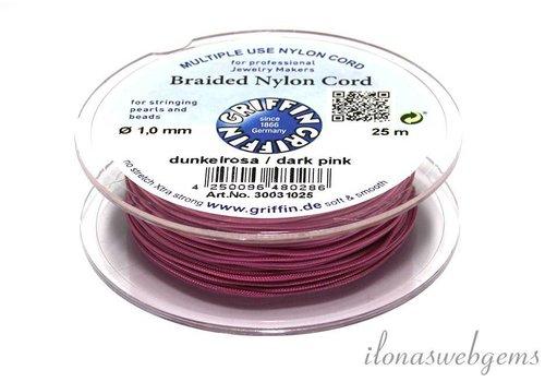 Griffin nylon koord donker roze 25m