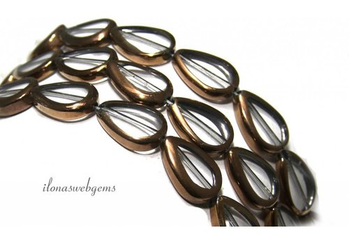 Glass beads bronze approximately 17x12x4.5mm
